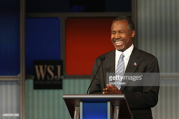 Presidential candidate Ben Carson smiles during the Republican Presidential Debate sponsored by Fox Business and the Wall Street Journal at the...