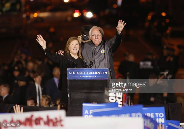 Presidential candidate Bernie Sanders and his wife Jane OÕMeara Sanders attend the Bernie Sanders rally in Washington Square Park on April 13 2016 in...