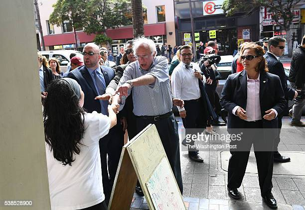 Presidential candidate Bernie Sanders greets people in the Mission District on Monday June 06 2016 in San Francisco CA The primary in California is...