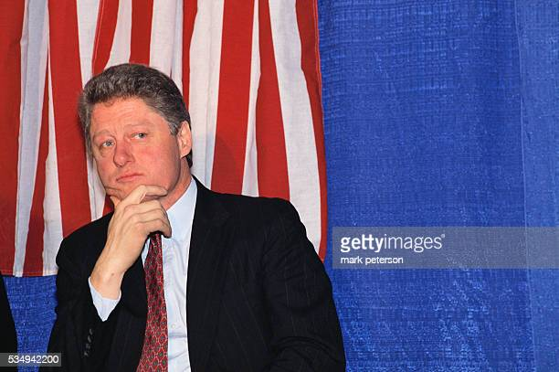 Presidential candidate Bill Clinton campaigns in New Hampshire Clinton would win the 1992 presidential election against incumbent George Bush and be...