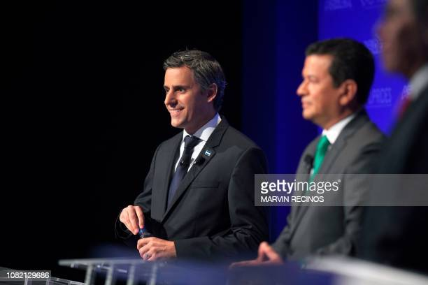 Presidential candidate Carlos Calleja of the National Republican Alliance participates in the presidential debate organized by the Salvadoran...