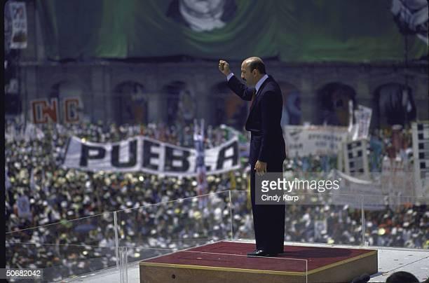 PRI Presidential candidate Carlos Salinas de Gortari speaking at a PRI campaign rally