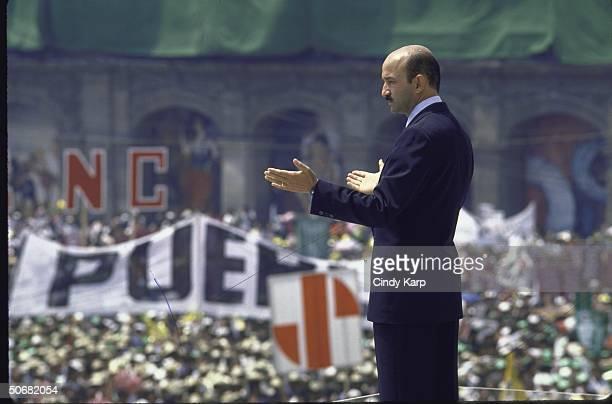 Presidential candidate Carlos Salinas de Gortari speaking at a PRI campaign rally.