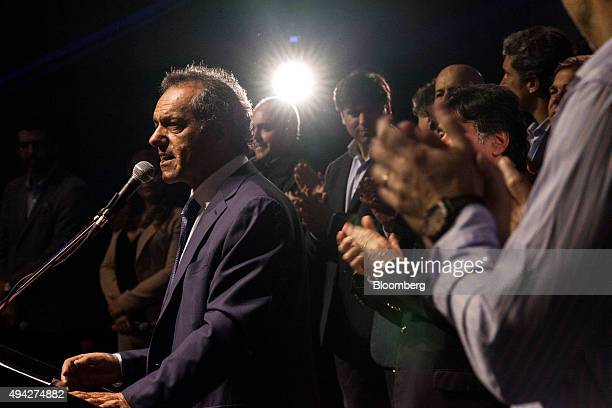 Presidential candidate Daniel Scioli speaks at his campaign headquarters on election night in Buenos Aires Argentina on Sunday Oct 25 2015...