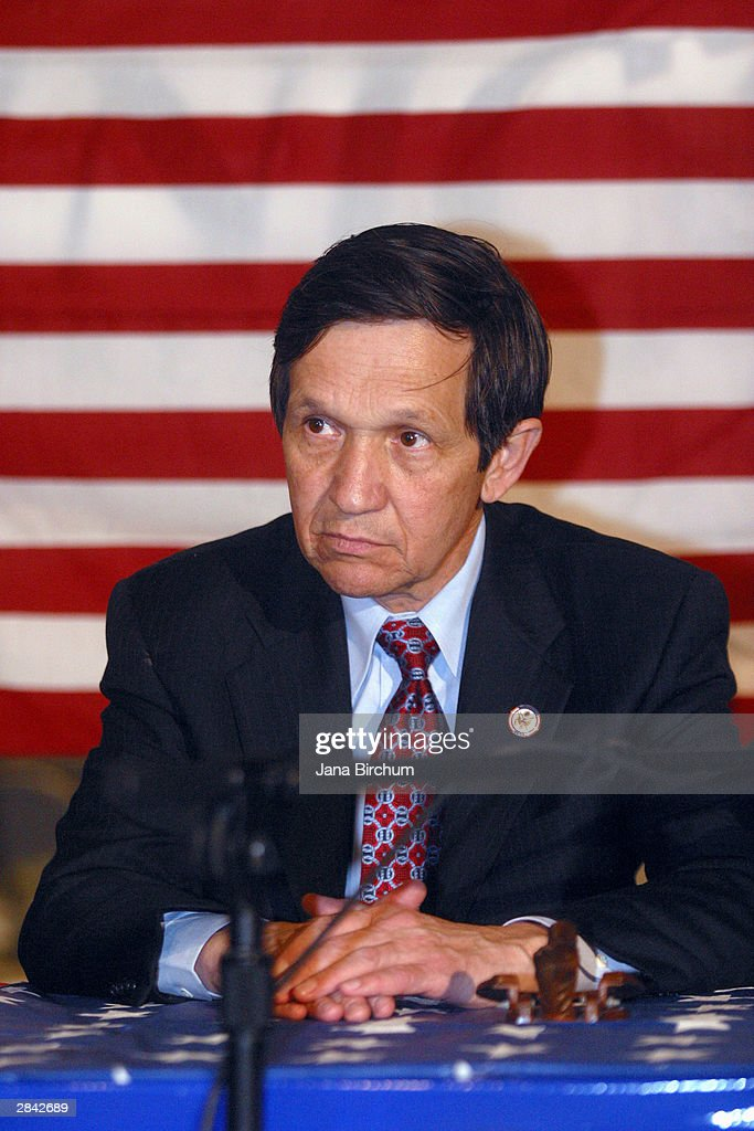 Presidential candidate Dennis Kucinich attends a fundraiser January 3, 2004 in Austin, Texas. The fundraiser was also attended by musicians Willie Nelson and Bonnie Rait, who lent their support for Kucinich.