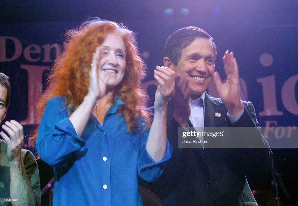 Presidential candidate Dennis Kucinich receives the support of musicians Bonnie Raitt at a fundraiser January 3, 2004 in Austin, Texas. The fundraiser was designed to elevate the name of Kucinich, who has received little recognition among voters outside his home state.