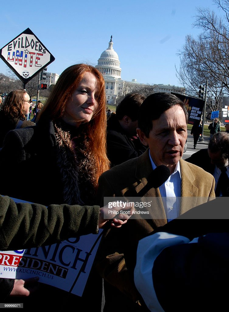 2008 presidential candidate Dennis Kucinich talks to reporters after giving a speech to protesters over the Iraq war. Kucinich has been an outspoken critic on the war in Iraq.