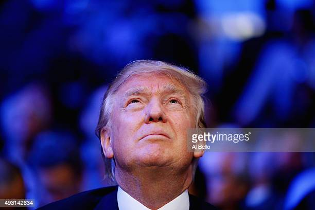 Presidential candidate Donald Trump attends the fight between Gennady Golovkin against David Lemieux for their WBA/WBC interim/IBF middleweight title...