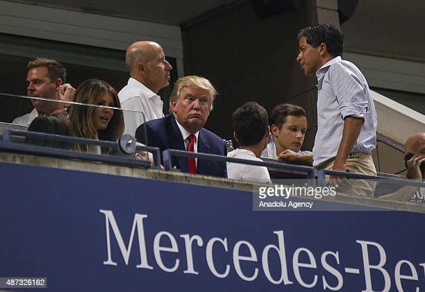 Presidential candidate Donald Trump attends the Women's Singles Quarterfinals match between Serena Williams of the United States and Venus Williams...