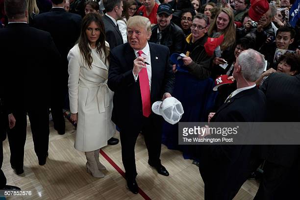 GOP presidential candidate Donald Trump holds a campaign rally at the Gerald W Kirn Middle School on January 31 2016 in Council Bluffs Iowa Trump and...