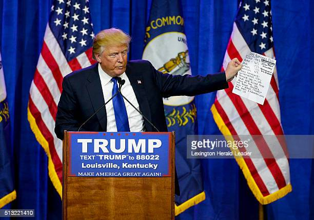 Presidential candidate Donald Trump quotes the numbers of recent polls while speaking to a couple thousand supporters in Louisville Ky on Tuesday...