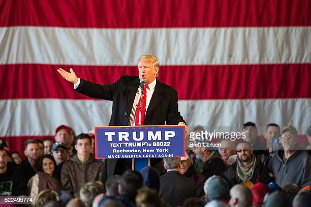 Presidential candidate Donald Trump speaks before a capacity crowd at a rally for his campaign on April 10 2016 in Rochester New York