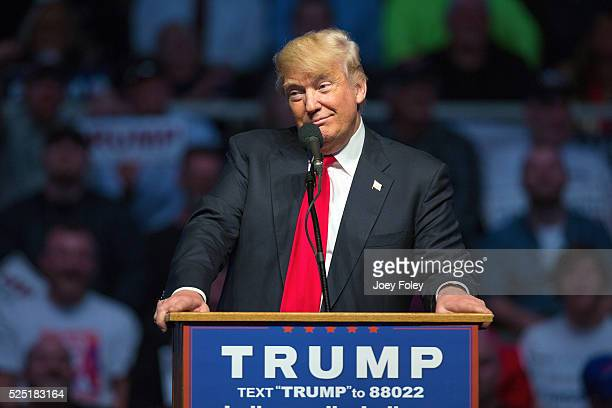 Presidential candidate Donald Trump speaks during a campaign rally at Indiana State Fairgrounds on April 272016 in Indianapolis Indiana