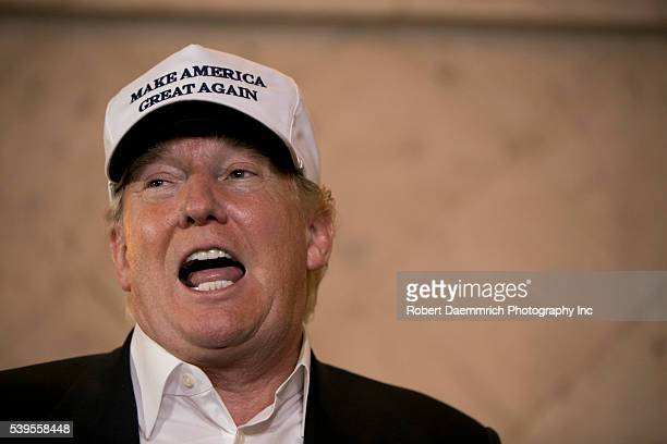 US Presidential candidate Donald Trump speaks to the media at the Paseo Real Reception Hall in Laredo Texas on July 23rd 2015