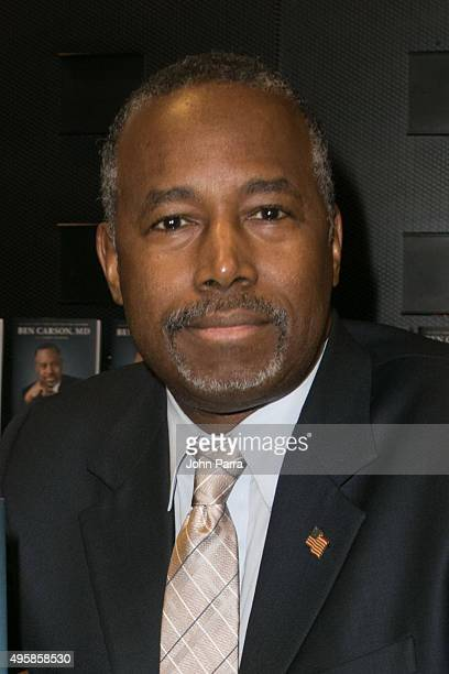 Presidential candidate Dr Ben Carson is seen at Barnes and Noble where he made an appearance to sign copies of his book 'A More Perfect Union' on...