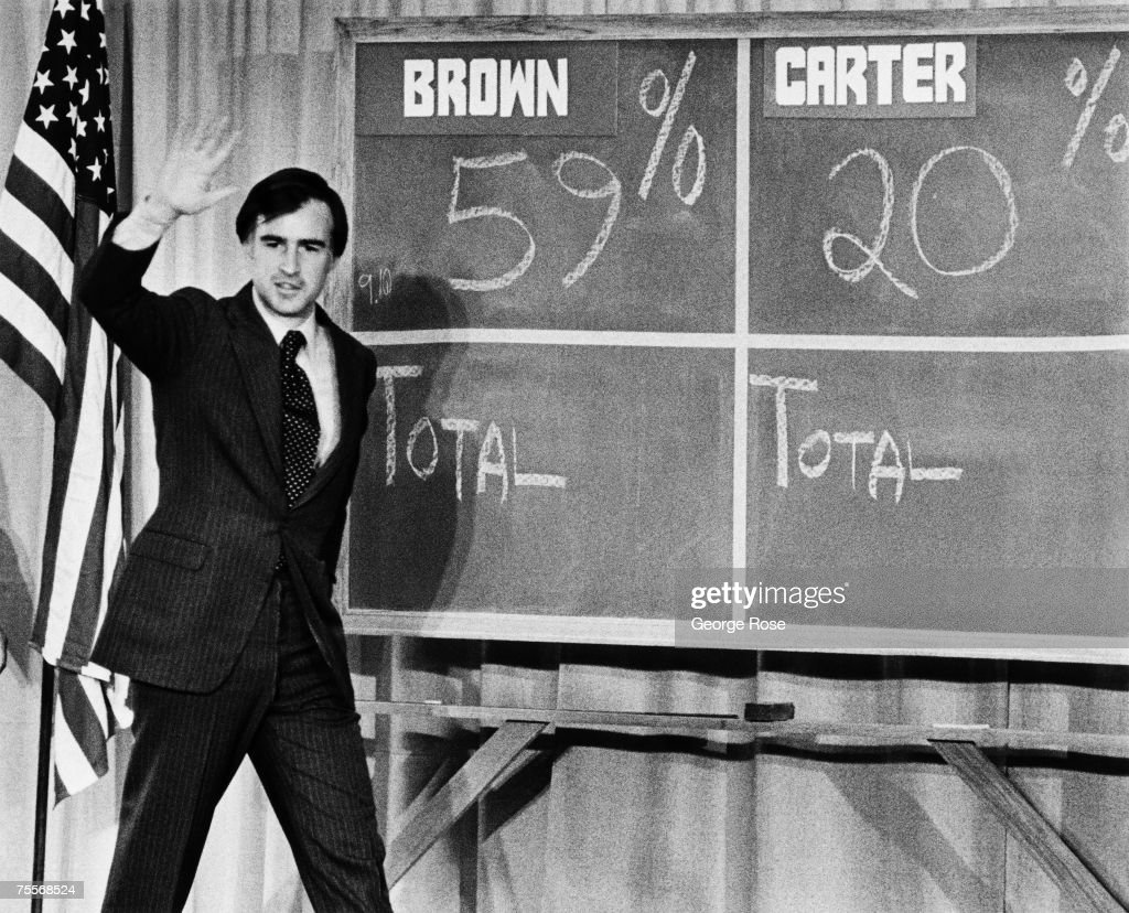 Presidential candidate Edmund 'Jerry' Brown beats Jimmy Carter in this 1976 Los Angeles, California, photo following the California Primary Election and leading up to the Democratic National Convention in New York.