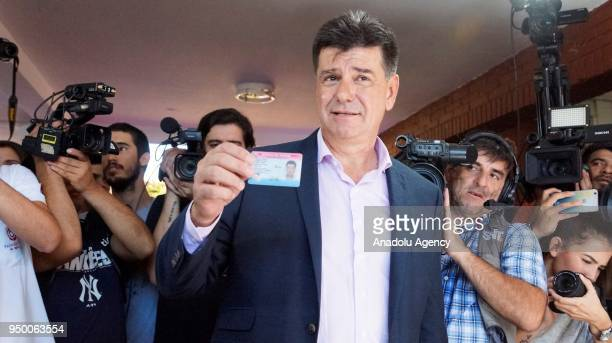 Presidential candidate Efrain Alegre of Ganar alliance votes at a polling station during the presidential election in Asuncion Paraguay on April 22...