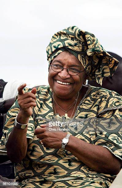 Presidential candidate Ellen Johnson Sirleaf waves to supporters during a support parade November 6 2005 in Monrovia Liberia 'Ellen' as she...