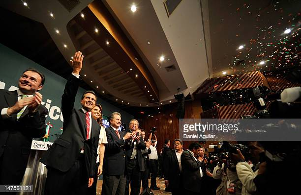 Presidential candidate Enrique Pena Nieto of the Institutional Revolutionary Party celebrates on July 2 2012 in Mexico City Mexico Results of an...