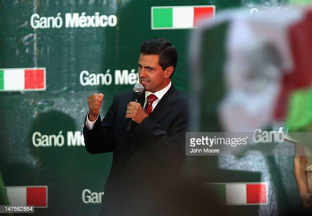 Presidential candidate Enrique Pena Nieto of the Institutional Revolutionary Party speaks to supporters on July 1 2012 in Mexico City Mexico Pena...