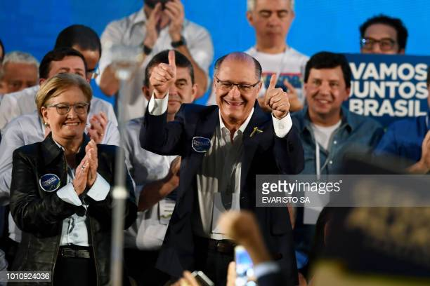 Presidential candidate for the Brazilian Social Democratic Party Geraldo Alckmin and his vicepresidential running mate Ana Amelia are pictured during...