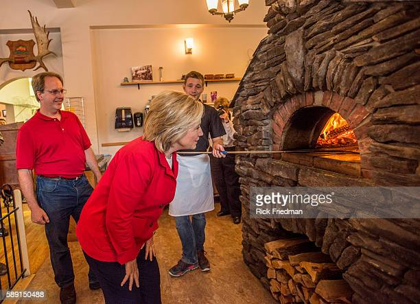 Presidential candidate former Secretary of State and former US Senator Hillary Clinton campaigning at a restaurant in Gorham NH prior to marching in...
