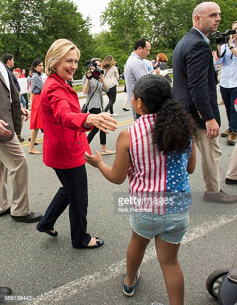Presidential candidate former Secretary of State and former US Senator Hillary Clinton campaigning while marching in the Gorham July 4th parade on...