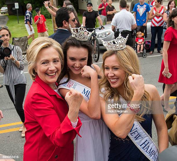 Presidential candidate former Secretary of State and former US Senator Hillary Clinton posing with Samantha Poirier Miss New Hampshire and a 2nd...