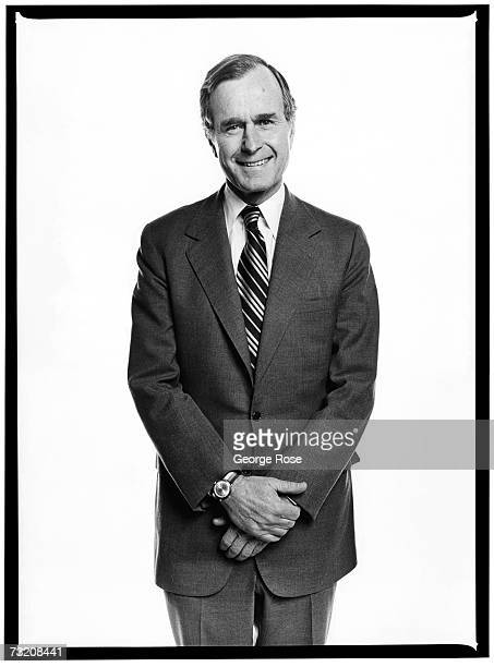 Presidential candidate George H W Bush poses during a 1980 Los Angeles California photo portrait session Bush would later become Vice President under...