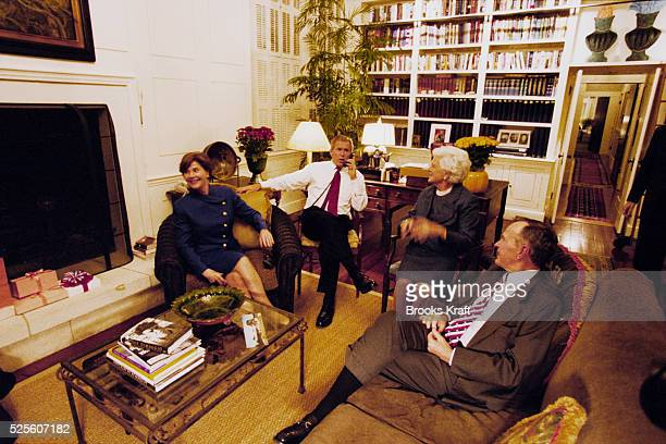 Presidential candidate George W Bush awaits the poll results with his family at the Governor's Mansion in Austin Texas on Election Day 2000 Left to...