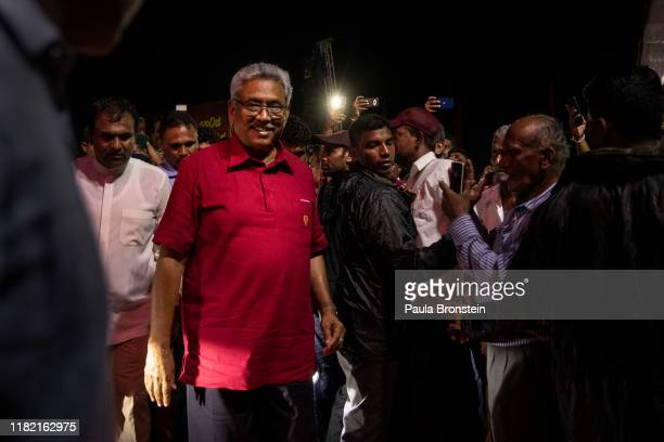 Presidential candidate Gotabaya Rajapaksa with the SinhaleseBuddhist nationalist party arrives during the last political rally before heading to the...