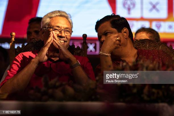 Presidential candidate Gotabaya Rajapaksa with the SinhaleseBuddhist nationalist party on stage during the last political rally before heading to the...