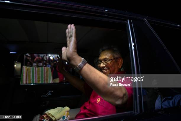 Presidential candidate Gotabaya Rajapaksa with the SinhaleseBuddhist nationalist party leaves the last political rally on November 13 2019 in...