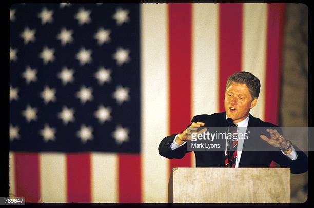 Presidential candidate Governor Bill Clinton speaks on the final weekend of his campaign October 30, 1992 in Springfield, OH. Clinton defeated four...