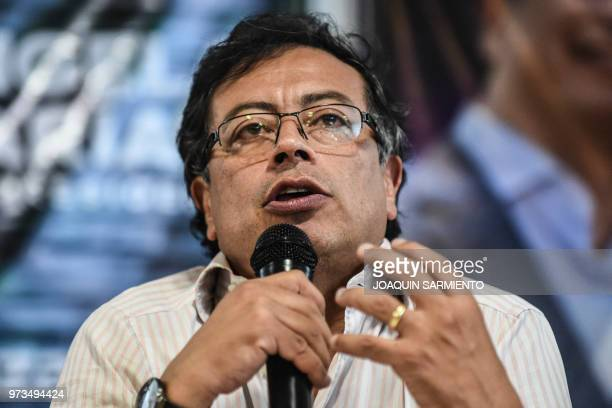 Presidential candidate Gustavo Petro, from Colombia Humana Movement, speaks during a political rally ahead of the runoff election, in Medellin,...