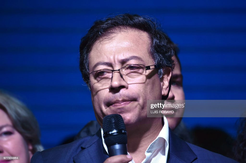 TOPSHOT - Presidential candidate Gustavo Petro speaks after his defeat by conservative rival Ivan Duque in Colombia's presidential runoff election, in Bogota, Colombia on June 17, 2018. - Conservative Ivan Duque won Colombia's presidential election Sunday after a campaign that turned into a referendum on a landmark 2016 peace deal with FARC rebels, which he pledged to overhaul.