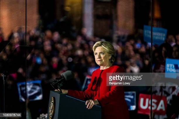 Presidential candidate Hillary Clinton addresses her supporters the night before the 2016 elections at the Independence Hall in Philadelphia, PA on...