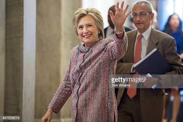 Presidential candidate Hillary Clinton and her campaign chairman John Podesta arrive in the Capitol to meet with Senate Democrats July 14 2016