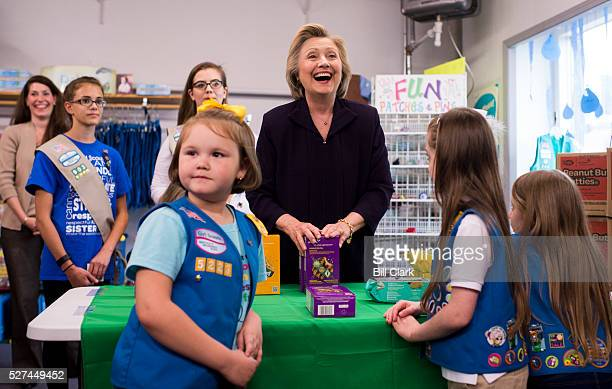 Presidential candidate Hillary Clinton buys Girl Scout cookies at the Girl Scouts of Kentucky shop in Ashland Ky on Monday May 2 2016