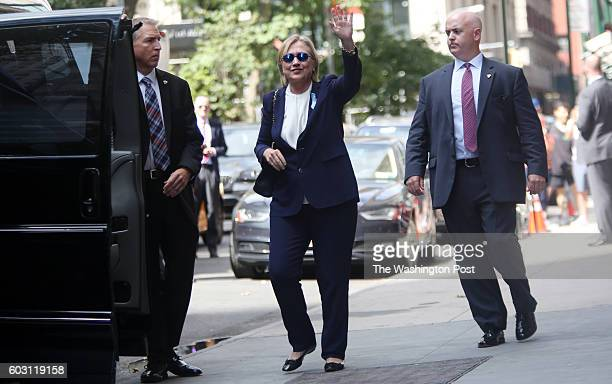 S Presidential Candidate Hillary Clinton exits her daughter Chelsea Clinton's apartment at 21 E 26th St after attending an anniversary event at the...
