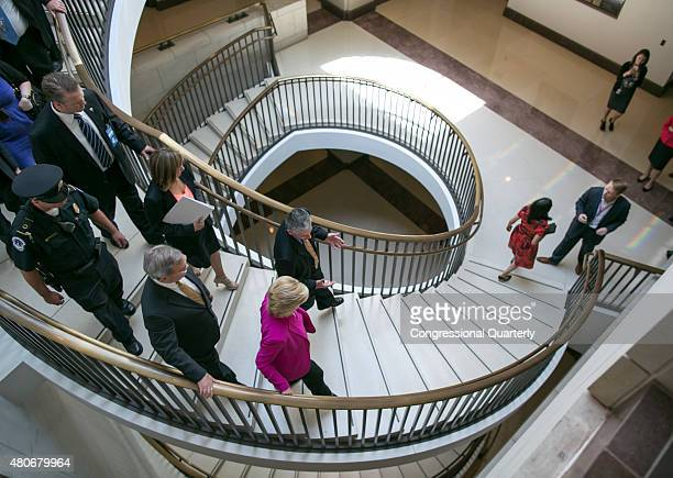 STATES JUNE 14 Presidential candidate Hillary Clinton heads down a spiral staircase at the US Capitol Visitor Center after leaving the Democratic...