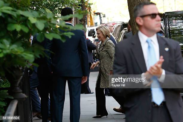 Presidential candidate Hillary Rodham Clinton attends a Hillary Victory Fund fundraiser at the residence of Harvey Weinstein on June 20 2016 in New...