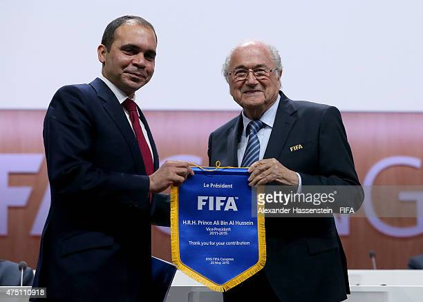 Presidential candidate HRH Prince Ali Bin Al Hussein of Jordan receives a pennant for his contribution to FIFA from FIFA President Joseph S Blatter...