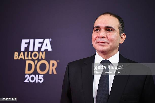 Presidential candidate H.R.H Prince Ali Bin Al Hussein of Jordan arrives for the FIFA Ballon d'Or Gala 2015 at the Kongresshaus on January 11, 2016...