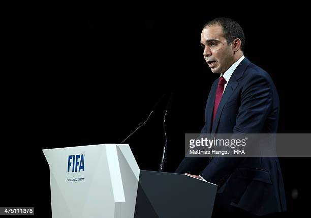 Presidential candidate HRH Prince Ali Bin Al Hussein of Jordan talks during the 65th FIFA Congress at the Hallenstadion on May 29 2015 in Zurich...