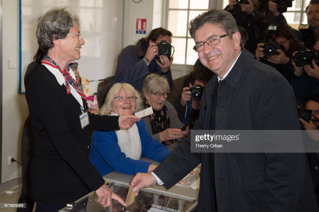 Presidential Candidate Jean Luc Melenchon Votes In Paris