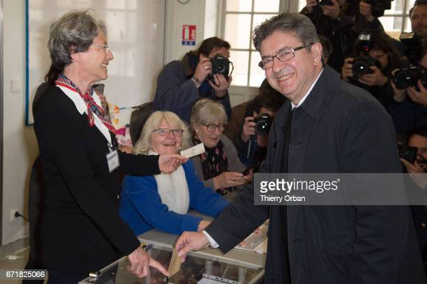 Presidential Candidate Jean Luc Melenchon casts her ballot for the French Presidential elections in a polling station on April 23 2017 in Paris...