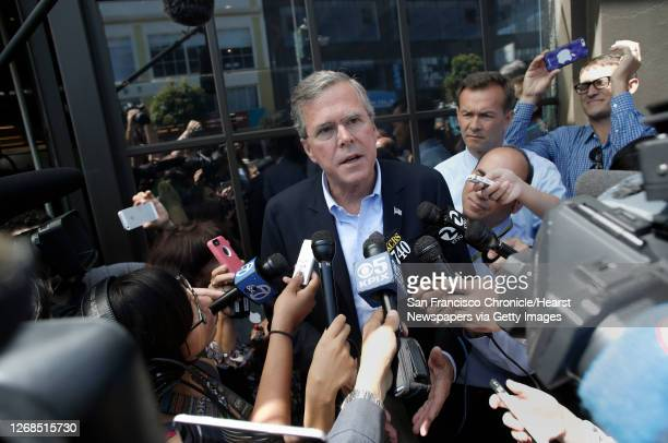 Presidential candidate Jeb Bush speaks with the media after meeting with employees at Thumbtack in San Francisco, Calif., on Thurs. July 16, 2015.