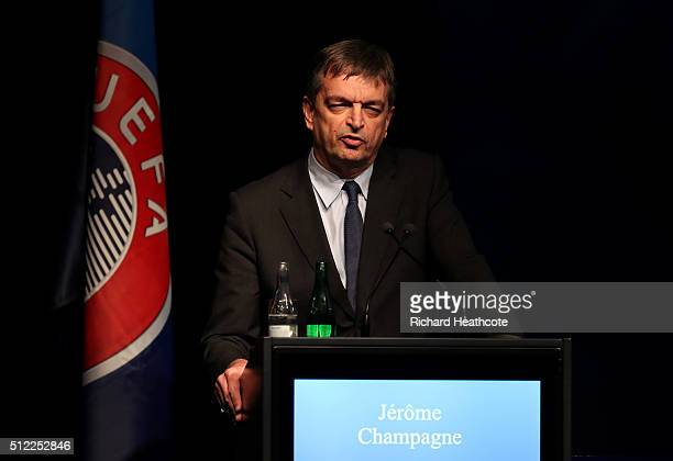 FIFA presidential candidate Jerome Champagne addresses the UEFA XI Extraordinary Congress at the Swissotel on February 25 2016 in Zurich Switzerland...