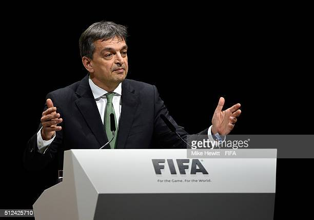 Presidential candidate Jerome Champagne talks during the Extraordinary FIFA Congress at Hallenstadion on February 26 2016 in Zurich Switzerland